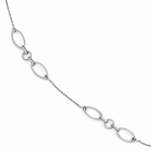 Sterling Silver Fancy Link Anklet 9 with 1in extention - 10 inches