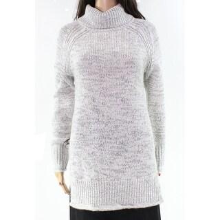 Heather B NEW Gray Ivory Knit Medium M High-Low Turtleneck Sweater