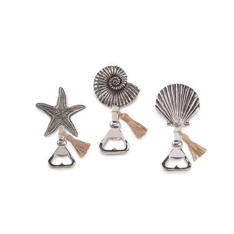 Mud Pie Fan Snail Starfish Seashell with Tassle Bottle Openers Set of 3 Aluminum