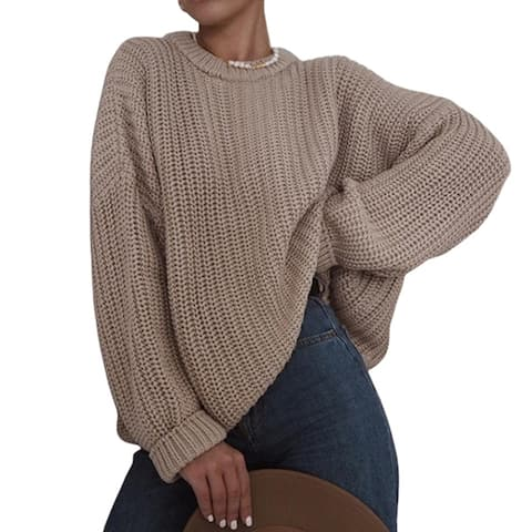 Women Casual O Neck Long Sleeve Solid Color Jumper Pullover Loose Knit Sweater