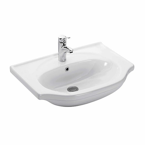 "WS Bath Collections Basic 4834 Basic 26-3/10"" Wall Mounted Bathroom Sink - White"