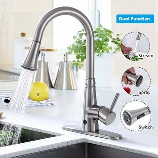 Costway Motion Sense Touchless Kitchen Faucet Pull-Down Single Handle Brushed Nickel - as pic