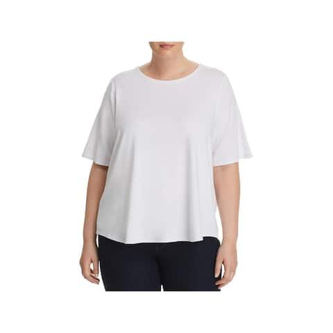 Cupio Womens Plus T-Shirt Elbow Sleeve Crew Neck - 3X