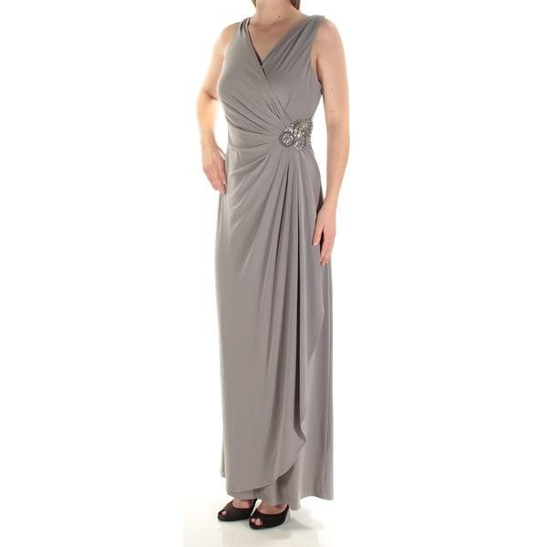 cd01e29286 Shop CALVIN KLEIN Womens Gray Beaded Sleeveless V Neck Maxi Faux Wrap  Evening Dress Size  8 - Free Shipping Today - Overstock - 24059215