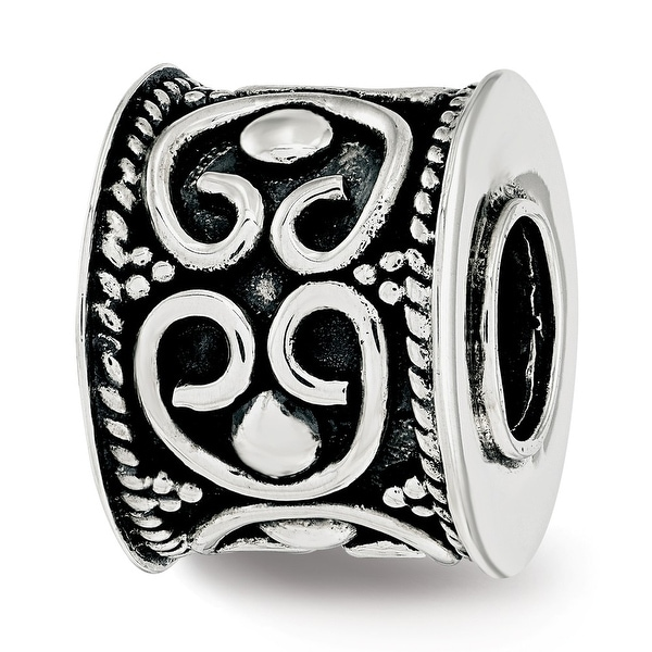 Sterling Silver Reflections Antiqued and Polished Cylinder Bali Bead (4.5mm Diameter Hole)