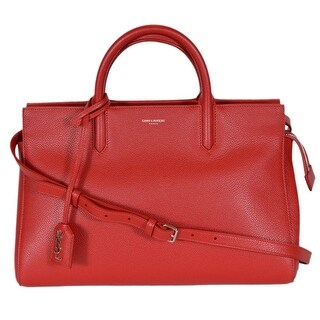 "Saint Laurent YSL 400413 Small Red Leather Cabas Rive Gauche Purse Handbag - 11.5"" x 8"" x 6"""
