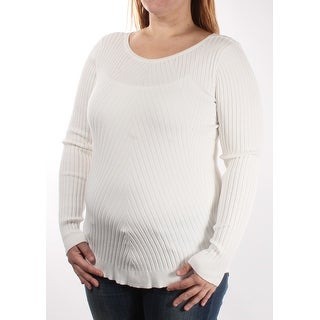 Womens White Long Sleeve Jewel Neck Casual Sweater Size XL