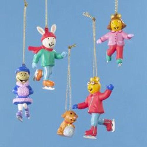 Set of 5 Arthur and Friends Mini Christmas Ornaments - multi