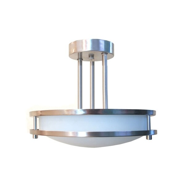 "HomeSelects International 6103 Saturn 2-Light 12"" Wide Semi-Flush Bowl Ceiling Fixture - Brushed nickel"