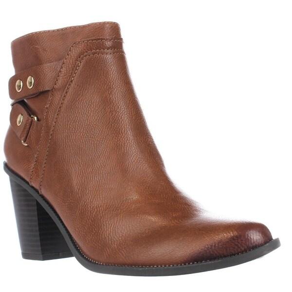 B35 Dove Block Heel Casual Ankle Booties, Banana Bread