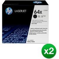 HP 64X High Yield Black Original LaserJet Toner Cartridge (CC364X)(2-Pack)