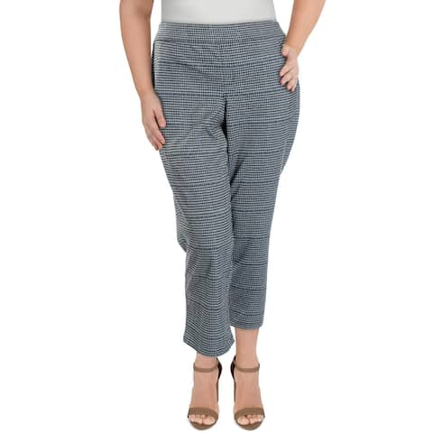 Sanctuary Womens Plus Dress Pants Plaid Crop - Black/White