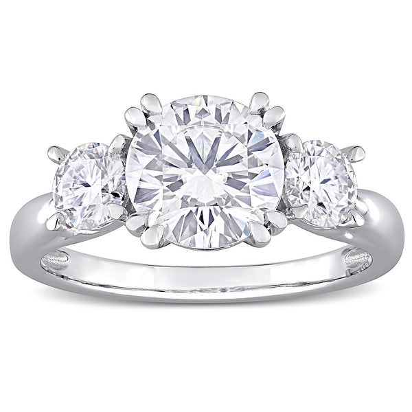Miadora 10k White Gold 2 4/5ct TGW Created White Moissanite 3-Stone Engagement Ring. Opens flyout.
