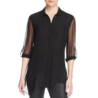 Elie Tahari Womens Gracelynn Blouse Silk Sheer