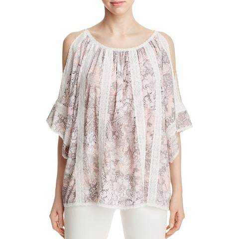 T Tahari Womens Cambria Peasant Top Crochet Floral Print
