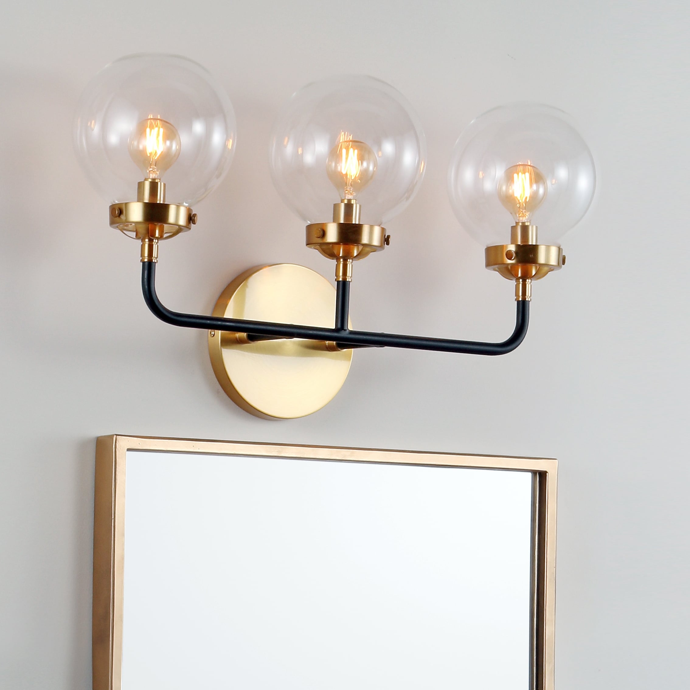 Image of: Shop Black Friday Deals On Caleb 3 Light 22 Brass Wall Sconce Black Brass By Jonathan Y On Sale Overstock 20711836