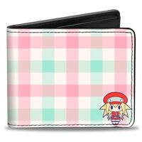 Roll Caskett Pose + Silhouette Buffalo Plaid Cream Pink Turquoise Bi Fold Bi-Fold Wallet - One Size Fits most