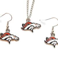 Denver Broncos Necklace and Dangle Earring Charm Set NFL