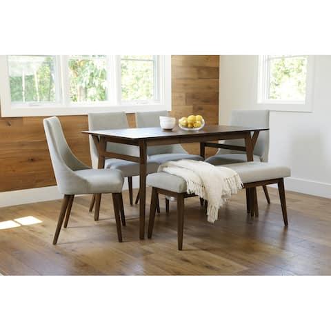 Abbyson Retro Mid Century Wooden Dining 6 Piece Set