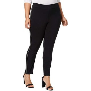 Link to INC Women's Pants Black Size 24W Plus Dress Striped Piped Skinny Stretch Similar Items in Pants