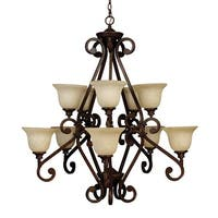 Craftmade 9138 Eight Light Up Lighting Chandelier from the Scroll Collection - peruvian