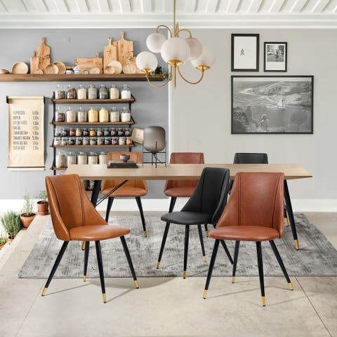 Furniture R Mid-Century Modern Faux Leather Dining Chair(Set of 2) - Standard height