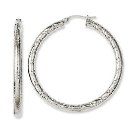 Chisel Stainless Steel Textured & Polished Hollow Hoop Earrings