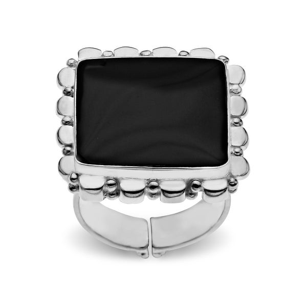 Sajen Black Shell Ring in Sterling Silver