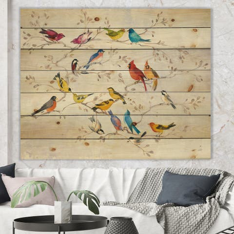Designart 'Multi-Color Bird on Tree' Modern Farmhouse Print on Natural Pine Wood - Multi-color