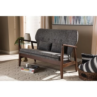 Rundell Walnut Wood Grey Fabric Upholstered 2-seater Loveseat