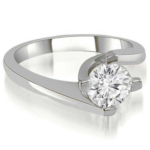 1.00 cttw. 14K White Gold Solitaire Round Cut Diamond Engagement Ring
