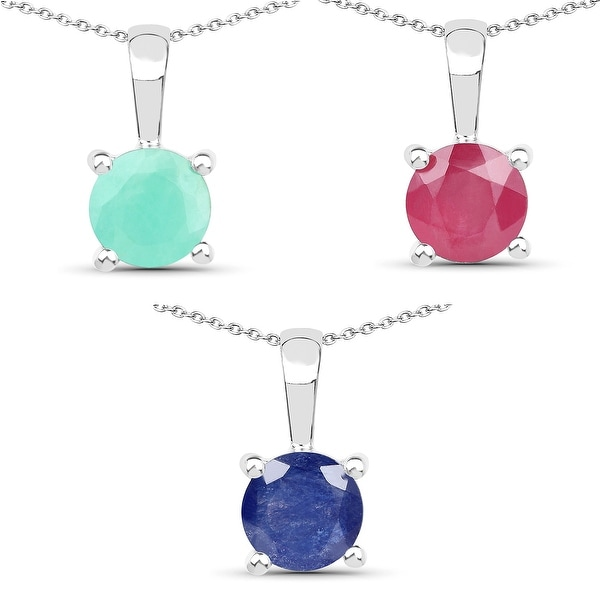 Malaika Sterling Silver 2 4/5ct Emerald Ruby and Sapphire Pendant. Opens flyout.
