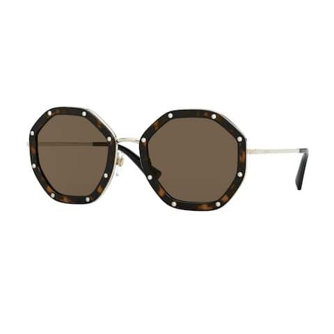 Valentino VA2042 300373 55 Pale Gold/havana Woman Irregular Sunglasses