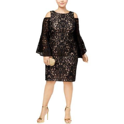 Xscape Womens Plus Cocktail Dress Lace Cold Shoulder