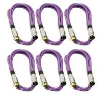 Seismic Audio 6 Pack of Premium 10 Foot Purple Gold Plated XLR Microphone Patch Cables