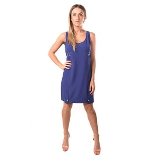 Versace Jeans Women Crepe Bark Dress Blue