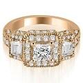 2.25 cttw. 14K Rose Gold 3-Stone Princess & Trapezoid Diamond Engagement Ring - Thumbnail 0