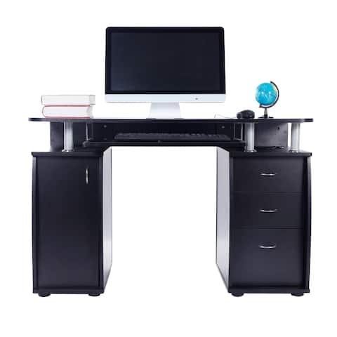 Porch & Den Shadywood Black 1-door 3-drawer Computer Desk
