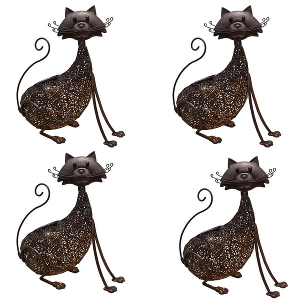 """Set of 4 LED Solar Lighted Brown Steel Cat Garden Statue 15"""" - N/A"""