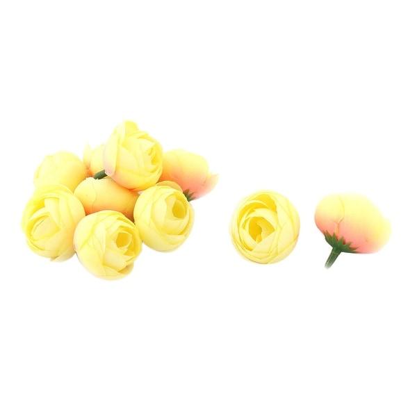 Bride Wedding Fabric Artificial Flower Buds Heads DIY Garland Decor Light Yellow 10pcs