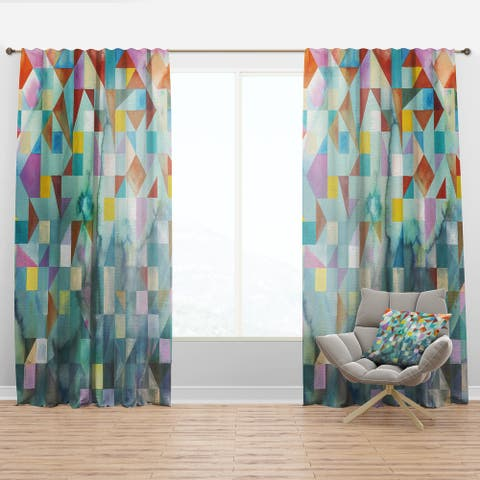 Designart 'Modern Patchwork' Modern Curtain Panel