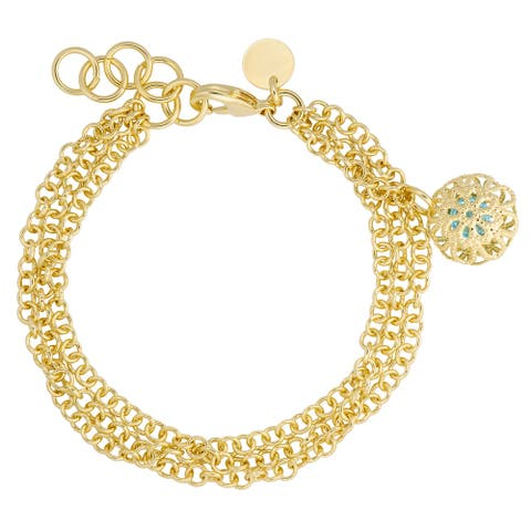 "Bronzoro 18 k Gold Overlay Yellow 8.25"" Stone Multi Strand Bracelet"