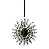 "4.75"" Black, Gold and Clear Gem Starburst Snowflake Christmas Ornament"