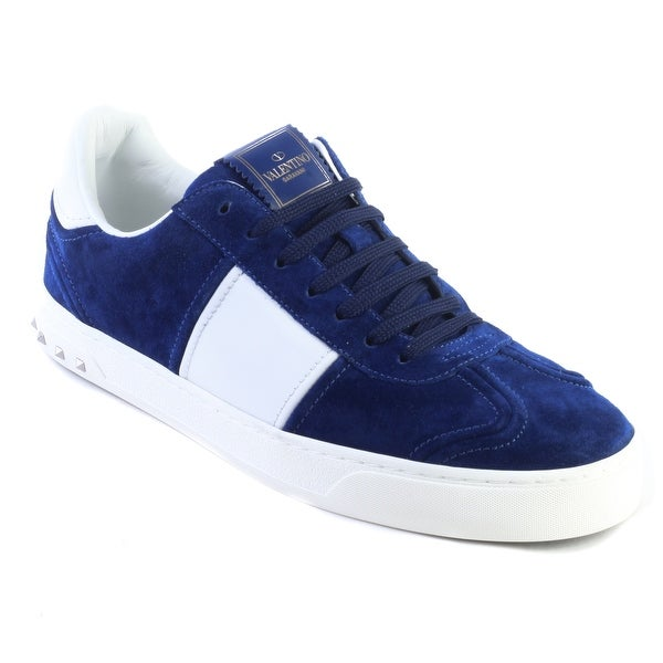 35d37b92b0 Shop Valentino Men's Suede Rockstud Sneaker Shoes Royal Blue - Free ...