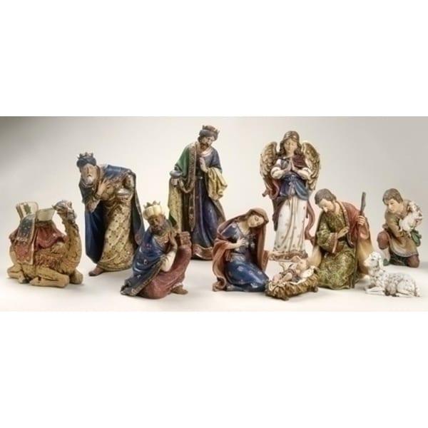 10-Piece Joseph's Studio Ornate Religious Christmas Nativity Statue Set - BLue