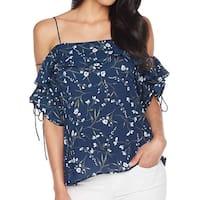 CeCe Blue Women's Size XL Ruffled Cold-Shoulder Floral-Print Blouse