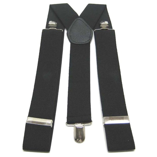 Basic Black Nylon Suspenders Braces Chrome Clips