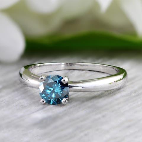 Auriya 14k Gold 3/4ctw Solitaire Blue Diamond Engagement Ring