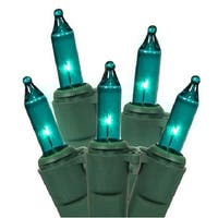 Set of 100 Teal Mini Christmas Lights - Green Wire