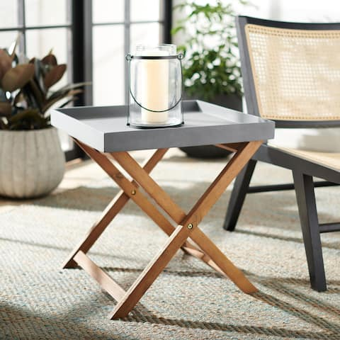 "SAFAVIEH Outdoor Brencia Removable Tray Top Side Table - 19.4"" W x 19.4"" L x 19.5"" H - 19.4"" W x 19.4"" L x 19.5"" H"